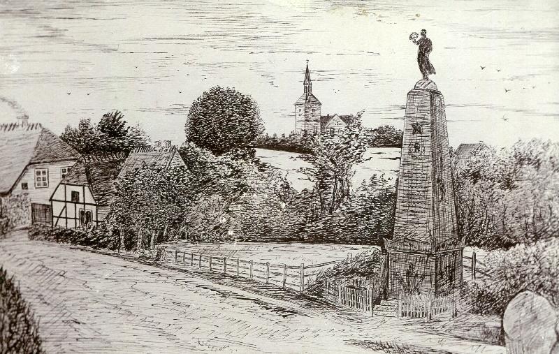Mindesmærket. Tegningen er fra ca. 1900. Mindetavlen er senere opsat på sten ved Taasinge Museum og figuren øverst oppe findes nu i parken ved Valdemars Slot.